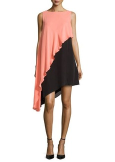 Halston Heritage Asymmetric Colorblock Tank Dress