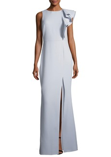 Halston Heritage Asymmetric Flounce Ruffle Evening Gown