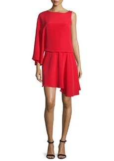 Halston Heritage Asymmetric Flowy Faille Blouson Dress