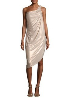 Halston Heritage Asymmetric One-Shoulder Metallic Jersey Dress