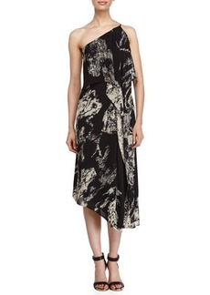 Halston Heritage Asymmetric Patterned Tier Dress