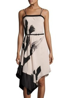 Halston Heritage Asymmetric Printed Cami Dress