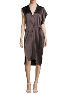 Halston Heritage Asymmetric Satin Shirtdress w/ Sash
