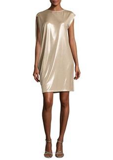 Halston Heritage Asymmetric-Sleeve Metallic Jersey Dress