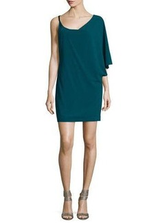 Halston Heritage Asymmetric-Sleeve Shift Dress