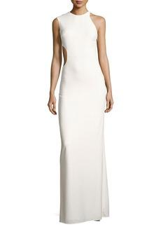 Halston Heritage Asymmetric Sleeveless Cutout-Back Crepe Gown