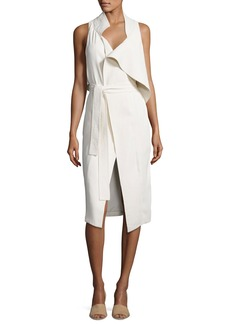 Halston Heritage Asymmetric Sleeveless Mock-Neck Draped Dress w/ Sash