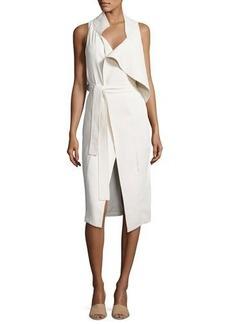 Halston Heritage Asymmetric Sleeveless Mock-Neck Draped Dress w/ Sash