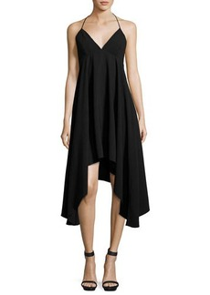 Halston Heritage Asymmetric Stretch-Crepe Dress