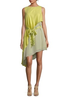 Halston Heritage Asymmetrical Silk Dress