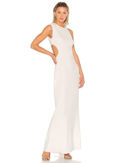 Halston Heritage Asymmetrical Sleeve Round Back Gown in Cream. - size 0 (also in 2,4,6,8)