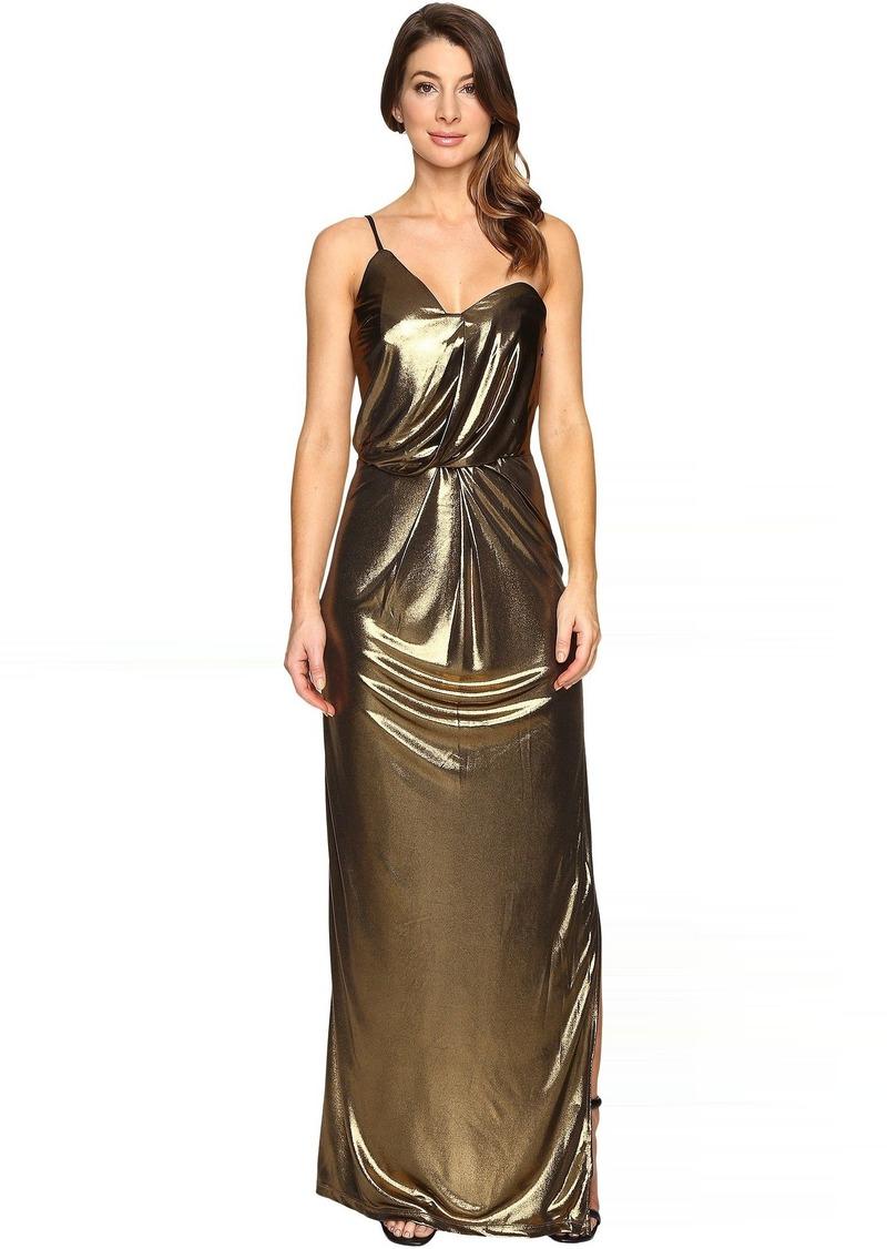 Halston Heritage Asymmetrical Strap Metallic Jersey Gown