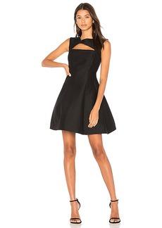 Halston Heritage Asymmetrical V Neck Dress in Black. - size 8 (also in 0,2,6)