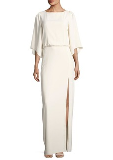 Halston Heritage Bateau-Neck Blouson Evening Gown w/ Embroidery Back