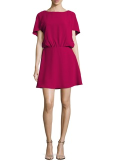 Halston Heritage Bateau-Neck Cape-Sleeve Flowy Dress