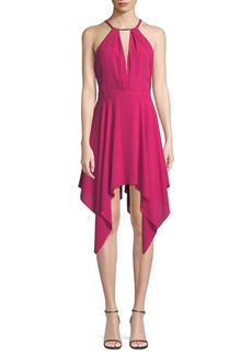 Halston Heritage Beaded Handkerchief-Hem Halter Cocktail Dress