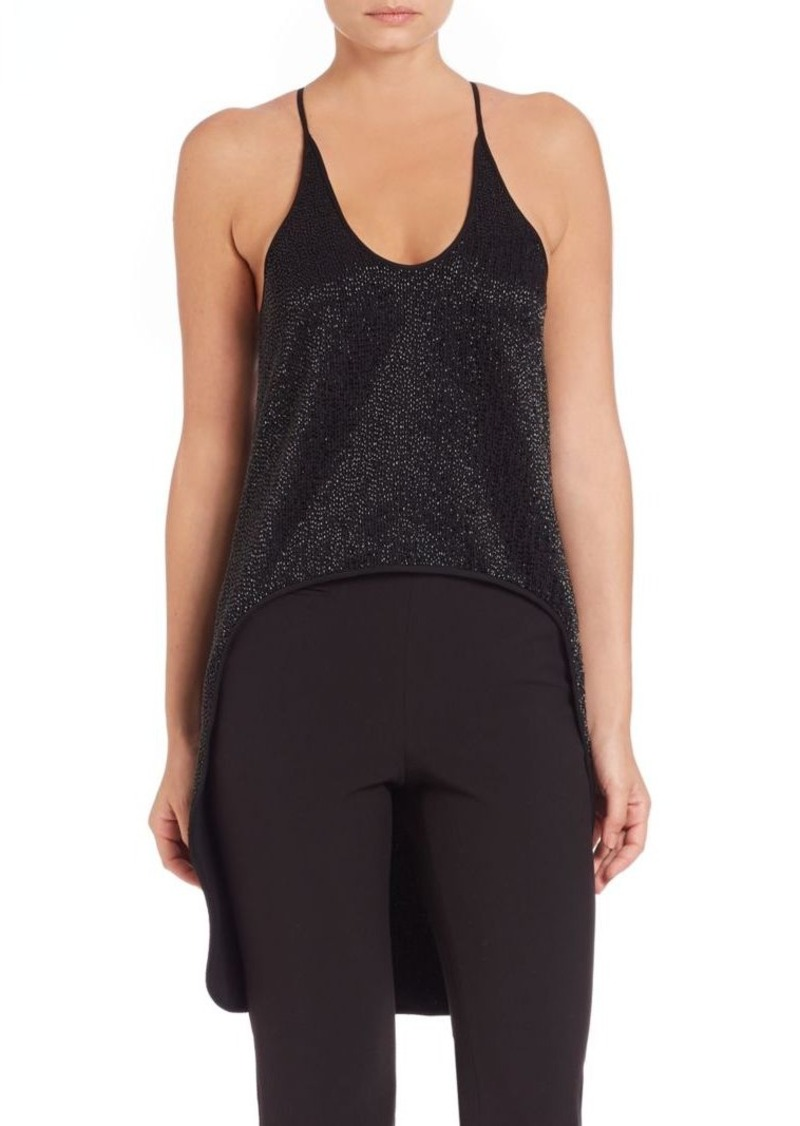 Halston Heritage Beaded Hi-Lo Scoopneck Tank Top
