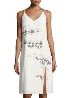 Halston Heritage Beaded Sleeveless V-Neck Dress