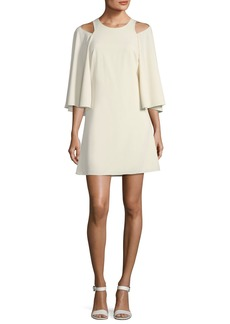 Halston Heritage Bell-Sleeve Shift Cocktail Dress w/ Cutouts