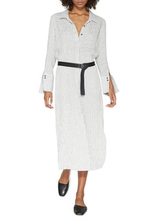 HALSTON HERITAGE Belted Midi Shirt Dress
