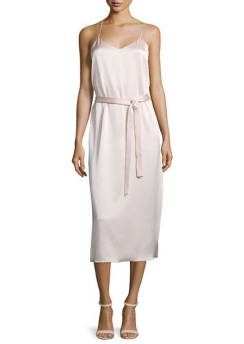 Halston Heritage Belted Satin Camisole Slip Dress