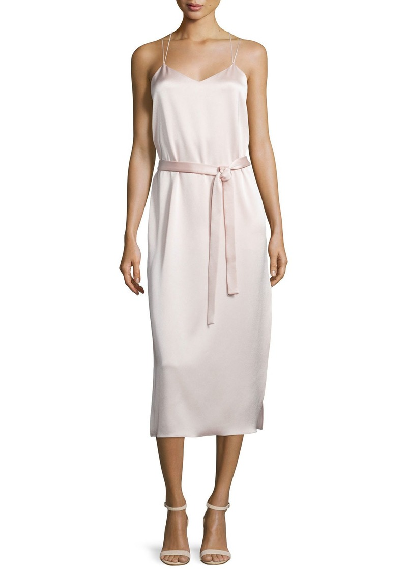 Halston Heritage Belted Satin Camisole Slip Dress