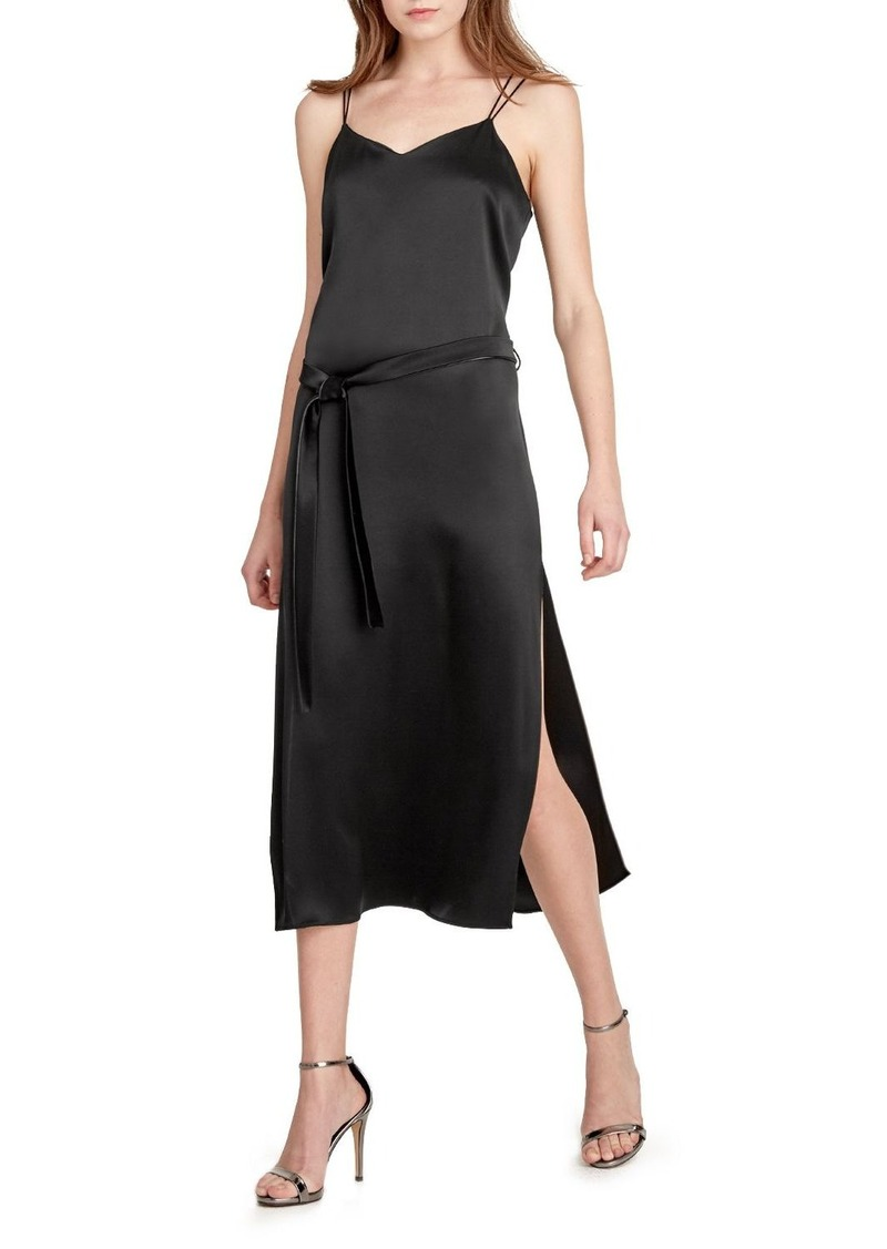 HALSTON HERITAGE Belted Slip Dress