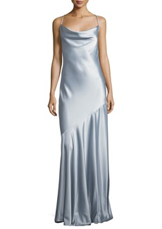 Halston Heritage Bias-Cut Satin Evening Gown
