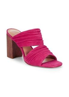 Halston Heritage Block Heel Leather Mule Sandals
