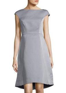 Halston Heritage Boat-Neck Cap-Sleeve A-line Dress