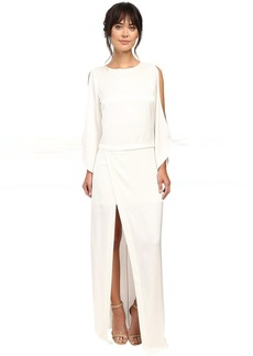Boat Neck Gown with High Slit