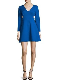 Halston Heritage Bracelet-Sleeve Party Dress W/Cutouts