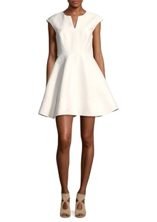 Halston Heritage Cap-Sleeve A-Line Dress