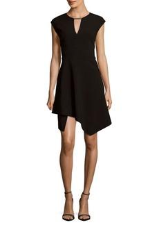 Halston Heritage Cap-Sleeve Asymmetric Dress