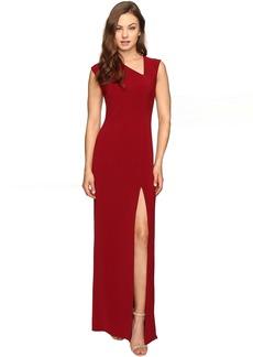 Cap Sleeve Asymmetrical V-Neck Crepe Gown w/ Slit