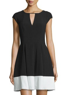Halston Heritage Cap-Sleeve Colorblock Dress