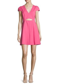 Halston Heritage Cap-Sleeve Cutout Dress
