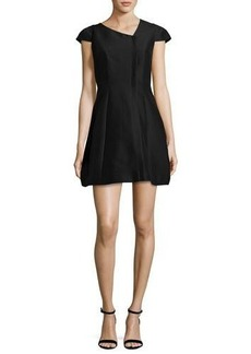 Halston Heritage Cap-Sleeve Faille Cocktail Dress