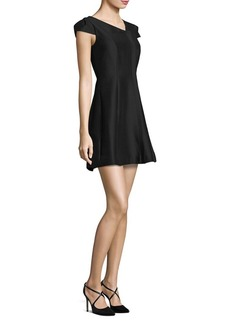 Halston Heritage Cap-Sleeve Faille Dress