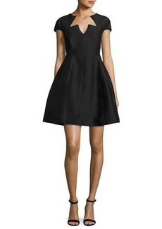 Halston Heritage Cap-Sleeve Faille Fit-and-Flare Cocktail Dress