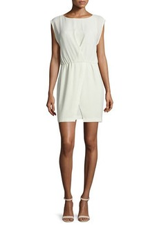 Halston Heritage Cap-Sleeve Faux-Wrap Dress