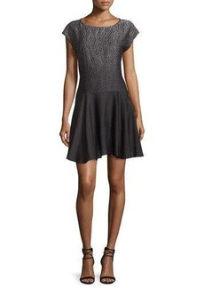 Halston Heritage Cap-Sleeve Fit-&-Flare Dress