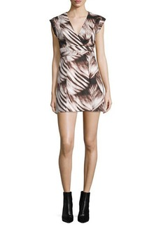 Halston Heritage Cap Sleeve Fit-&-Flare Printed Dress