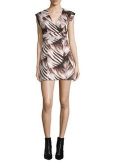 Halston Heritage Cap Sleeve Fit-&-Flare Printed Dress
