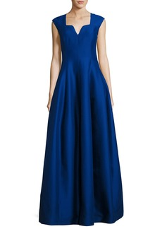 Halston Heritage Cap-Sleeve Geo-Neck A-Line Structured Evening Gown
