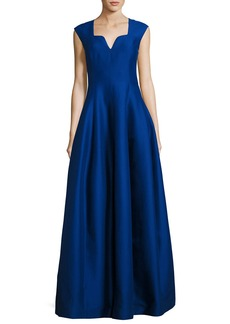 Halston Heritage Cap-Sleeve Geo-Neck A-Line Structured Evening Gown