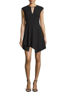 Halston Heritage Cap-Sleeve Handkerchief-Hem Mini Dress