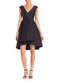 Halston Heritage Cap Sleeve Hi-Lo Dress