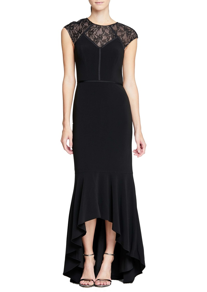 Halston Heritage Cap Sleeve High/Low Mermaid Gown