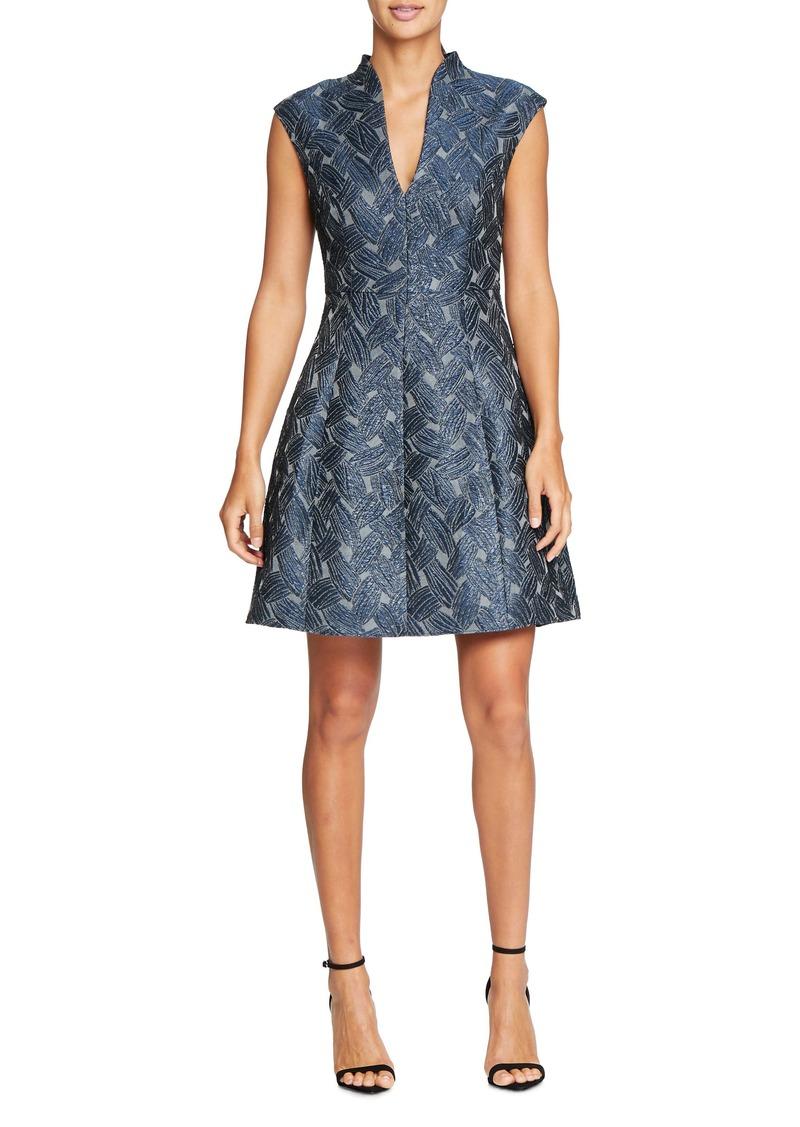 Halston Heritage Cap Sleeve Metallic Jacquard Dress